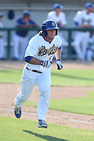 Dillon Moyer (5) of the Rancho Cucamonga Quakes runs to first base during a game against the Bakersfield Blaze at LoanMart Field on June 1, 2015 in Rancho Cucamonga, California. Rancho Cucamonga defeated Bakersfield, 5-2. (Larry Goren/Four Seam Images)