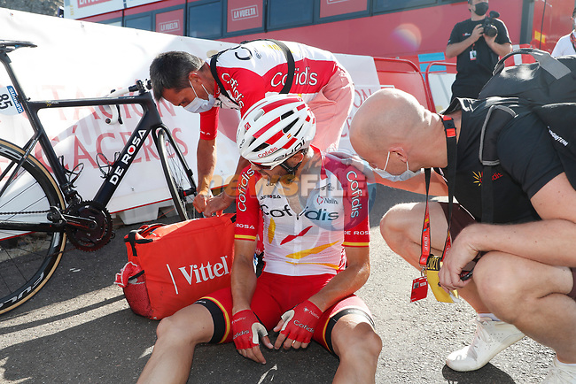 Jesus Herrada (ESP) Cofidis at the end of Stage 14 of La Vuelta d'Espana 2021, running 165.7km from Don Benito to Pico Villuercas, Spain. 28th August 2021.     <br /> Picture: Luis Angel Gomez/Photogomezsport | Cyclefile<br /> <br /> All photos usage must carry mandatory copyright credit (© Cyclefile | Luis Angel Gomez/Photogomezsport)