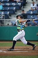 Johnny Adams (25) of the Everett AquaSox bats against the Boise Hawks at Everett Memorial Stadium on July 21, 2017 in Everett, Washington. Boise defeated Everett, 10-4. (Larry Goren/Four Seam Images)