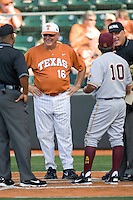 Texas Longhorns coach Augie Garrido #16 meets with the umpires and Arizona State Sun Devls coach Tim Esmay #10 before their NCAA Tournament Super Regional baseball game on June 10, 2011 at Disch Falk Field in Austin, Texas. (Photo by Andrew Woolley / Four Seam Images)