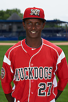 Batavia Muckdogs outfielder Galvi Moscat (27) poses for a photo on July 8, 2015 at Dwyer Stadium in Batavia, New York.  (Mike Janes/Four Seam Images)