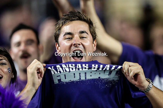 Kansas State Wildcats fans show their support for Kansas State before and during the game between the Kansas State Wildcats and the TCU Horned Frogs at the Amon G. Carter Stadium in Fort Worth, Texas. Kansas State defeats TCU 23 to 10...