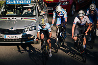 Remco Evenepoel (BEL) charging back up the field after having crashed and having lost +2 minutes waiting for a new bike<br /> <br /> MEN JUNIOR ROAD RACE<br /> Kufstein to Innsbruck: 132.4 km<br /> <br /> UCI 2018 Road World Championships<br /> Innsbruck - Tirol / Austria