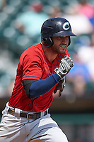 Columbus Clippers outfielder Tyler Naquin (22) runs to first during a game against the Buffalo Bisons on July 19, 2015 at Coca-Cola Field in Buffalo, New York.  Buffalo defeated Columbus 4-3 in twelve innings.  (Mike Janes/Four Seam Images)