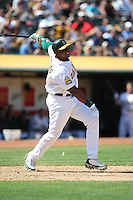 OAKLAND, CA - AUGUST 16:  Frank Thomas of the Oakland Athletics bats during the game against the Chicago White Sox at the McAfee Coliseum in Oakland, California on August 16, 2008.  The White Sox defeated the Athletics 2-1.  Photo by Brad Mangin
