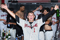 Kannapolis Intimidators relief pitcher Kyle Kubat (1) celebrates in the clubhouse following the win over the West Virginia Power at Kannapolis Intimidators Stadium on June 18, 2017 in Kannapolis, North Carolina.  The Intimidators defeated the Power 5-3 to win the South Atlantic League Northern Division first half title.  It is the first trip to the playoffs for the Intimidators since 2009.  (Brian Westerholt/Four Seam Images)