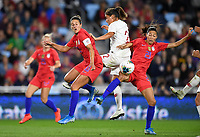 Saint Paul, MN - SEPTEMBER 03: Mónica Mendes #2 of Portugal, Carli Loyd #10 and Christen Press #23 of the United States during their 2019 Victory Tour match versus Portugal at Allianz Field, on September 03, 2019 in Saint Paul, Minnesota.