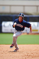 GCL Red Sox designated hitter Jagger Rusconi (12) running the bases during the second game of a doubleheader against the GCL Rays on August 4, 2015 at Charlotte Sports Park in Port Charlotte, Florida.  GCL Red Sox defeated the GCL Rays 2-1.  (Mike Janes/Four Seam Images)