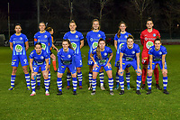 team picture KAA Gent ( Jolet Lommen (9) of AA Gent , Silke Vanwynsberghe (21) of AA Gent , Ella Van Kerckhoven (3) of AA Gent , Lobke Loonen (19) of AA Gent , Fran Meersman (5) of AA Gent , goalkeeper Nicky Evrard (1) of AA Gent and Rkia Mazrouai (2) of AA Gent , Emma Van Britsom (6) of AA Gent , Lyndsey Van Belle (14) of AA Gent , Heleen Jaques (4) of AA Gent , Chloe Vande Velde (10) of AA Gent ) before a female soccer game between  AA Gent Ladies and Racing Genk on the 12 th matchday of the 2020 - 2021 season of Belgian Scooore Womens Super League , friday 29 th of January 2021  in Oostakker , Belgium . PHOTO SPORTPIX.BE | SPP | DIRK VUYLSTEKE