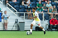 HARTFORD, CT - AUGUST 17: Zeiko Lewis #10 of Charleston Battery brings the ball forward during a game between Charleston Battery and Hartford Athletic at Dillon Stadium on August 17, 2021 in Hartford, Connecticut.