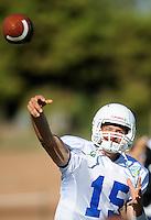 Sept. 16, 2009; Casa Grande, AZ, USA; California Redwoods quarterback (15) Brett Dietz during training camp at the Casa Grande Training Facility & Performance Institute. Mandatory Credit: Mark J. Rebilas-