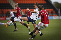 10th October 2020, The Hive, Canons Park, Harrow, England; Tobin Heath   Manchester United clears the ball during for womens Super League game between Tottenham Hotspur and Manchester United