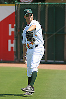 Lynchburg HillCats pitcher Brad Boxberger of the Carolina League All- Stars throwing in the outfield before the California League vs. Carolina League All-Star game held at BB&T Coastal Field in Myrtle Beach, SC on June 22, 2010.  The California League All-Stars defeated the Carolina League All-Stars by the score of 4-3.  Photo By Robert Gurganus/Four Seam Images