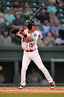 Second baseman Nick Lovullo (36) of the Greenville Drive bats in a game against the Lexington Legends on Wednesday, April 12, 2017, at Fluor Field at the West End in Greenville, South Carolina. Greenville won, 4-1. (Tom Priddy/Four Seam Images)