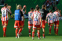 MELBOURNE, AUSTRALIA - January 2:  Heart players celebrate with their fans after the round 21 A-League match between Melbourne Heart and North Queensland Fury at AAMI Park on January 2, 2011 in Melbourne, Australia. (Photo by Sydney Low / Asterisk Images)