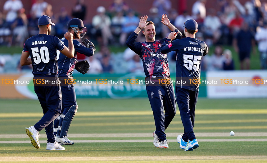 Elliot Hooper of Kent (2nd R) is congratulated after taking the wicket of Phil Salt during Kent Spitfires vs Sussex Sharks, Vitality Blast T20 Cricket at The Spitfire Ground on 18th July 2021