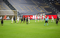 LOS ANGELES, CA - SEPTEMBER 13: Brian Rodriguez #17 of LAFC takes a freekick during a game between Portland Timbers and Los Angeles FC at Banc of California stadium on September 13, 2020 in Los Angeles, California.