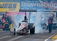Aug 31, 2019; Clermont, IN, USA; NHRA top alcohol dragster driver Rachel Meyer during qualifying for the US Nationals at Lucas Oil Raceway. Mandatory Credit: Mark J. Rebilas-USA TODAY Sports