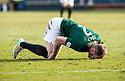 Hib's David Gray injures his knee.