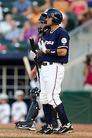 Jeff Bianchi (6) of the Northwest Arkansas Naturals in the batters box during a game against the San Antonio Missions at Arvest Ballpark on June 30, 2011 in Springdale, Arkansas. (David Welker / Four Seam Images)