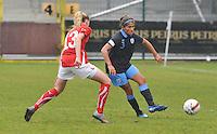 UEFA Women's Under 17 Championship - Second Qualifying round - group 1 : England - Switzerland : .Paige Williams aan de bal voor Nina Stapelfeldt..foto DAVID CATRY / Vrouwenteam.be