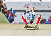 9 January 2016: Sergei Chudinov, competing for Russia, pushes off for his first run start of the BMW IBSF World Cup Skeleton race at the Olympic Sports Track in Lake Placid, New York, USA. Chudinov ended the day with a combined 2-run time of 1:51.20 and a 16th place overall finish. Mandatory Credit: Ed Wolfstein Photo *** RAW (NEF) Image File Available ***