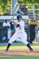 Chase Vallot (8) of the Burlington Royals at bat against the Princeton Rays at Burlington Athletic Park on July 11, 2014 in Burlington, North Carolina.  The Rays defeated the Royals 5-3.  (Brian Westerholt/Four Seam Images)
