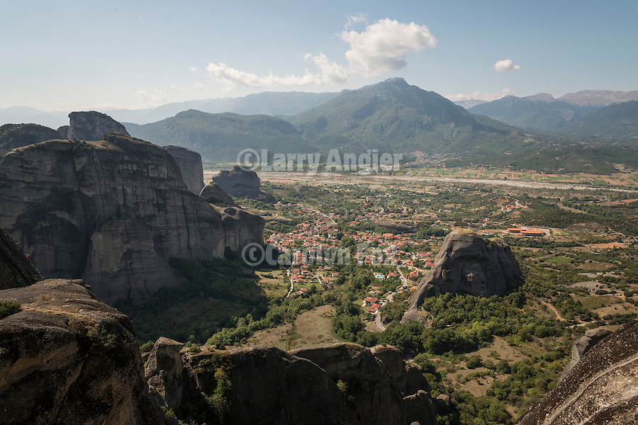 Village of Kastraki and the Plain of Thessaly and Pindus Mountains, Meteora, Greece