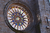 The Cathedral. Stained glass rosette window. Evora, Alentejo, Portugal