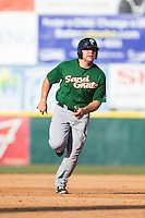 Vicente Lupo (27) of the Savannah Sand Gnats hustles towards third base against the Hickory Crawdads at L.P. Frans Stadium on June 14, 2015 in Hickory, North Carolina.  The Crawdads defeated the Sand Gnats 8-1.  (Brian Westerholt/Four Seam Images)