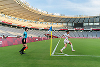 TOKYO, JAPAN - JULY 21: Christen Press #11 of the USWNT takes a corner kick during a game between Sweden and USWNT at Tokyo Stadium on July 21, 2021 in Tokyo, Japan.