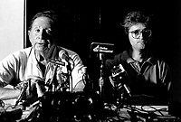 MONTREAL, CANADA - File Photo - Charles Trenet and Gilbert Rozon (R) adress the medias, on July 18, 1987.<br /> <br /> Photo : agence quebec presse - Pierre Roussel