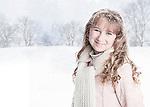 USA, Illinois, Metamora, portrait of girl (10-11) on snowy day in park