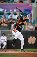 Aberdeen IronBirds first baseman J.C. Escarra (13) at bat during a game against the Staten Island Yankees on August 23, 2018 at Leidos Field at Ripken Stadium in Aberdeen, Maryland.  Aberdeen defeated Staten Island 6-2.  (Mike Janes/Four Seam Images)