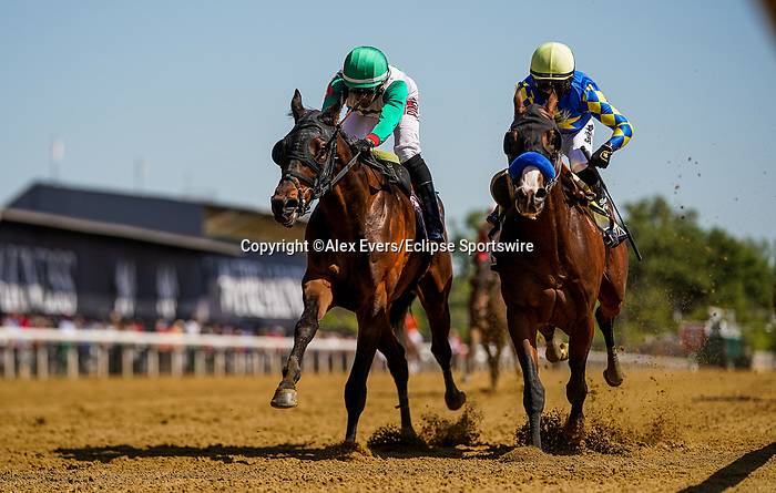 May 15, 2021: The King Cheek, #1, ridden by jockey Jaime Rodriguez, wins the Sir Barton Stakes on Preakness Stakes Day at Pimlico Race Course in Baltimore, Maryland. Alex Evers/Eclipse Sportswire/CSM