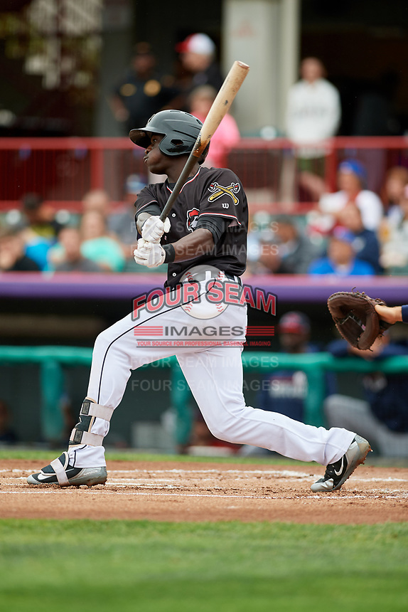 Erie SeaWolves right fielder Daz Cameron (15) flies out during a game against the New Hampshire Fisher Cats on June 20, 2018 at UPMC Park in Erie, Pennsylvania.  New Hampshire defeated Erie 10-9.  (Mike Janes/Four Seam Images)