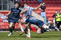 17th April 2021; AJ Bell Stadium, Salford, Lancashire, England; English Premiership Rugby, Sale Sharks versus Gloucester; Jonny May of Gloucester Rugby is tackled by Rohan Janse van Rensburg of Sale Sharks