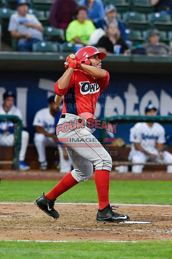 Jose Rojas (2) of the Orem Owlz follows through on his swing against the Ogden Raptors during the Pioneer League game at Lindquist Field on September 9, 2016 in Ogden, Utah. This was Game 1 of the Southern Division playoff. Orem defeated Ogden 6-5. (Stephen Smith/Four Seam Images)