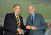 Bruce Murray (right) with David Howman. Cricket Wellington membership badge presentations in the Long Room at the Basin Reserve in Wellington, New Zealand on Saturday, 14 November 2020. Photo: Dave Lintott / lintottphoto.co.nz