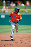 Syracuse Mets Gregor Blanco (7) running the bases during an International League game against the Indianapolis Indians on July 17, 2019 at Victory Field in Indianapolis, Indiana.  Syracuse defeated Indianapolis 15-5  (Mike Janes/Four Seam Images)
