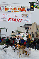 2010 Iditarod Ceremonial Start in Anchorage Alaska musher # 28 QUINN ITEN with Iditarider SHARYN GUNTER