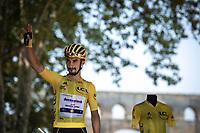 Yellow Jersey Julian Alaphilippe (FRA/Deceuninck Quick Step) at the pre stage sign on. <br /> <br /> Stage 17: Pont du Gard to Gap (200km)<br /> 106th Tour de France 2019 (2.UWT)<br /> <br /> ©kramon