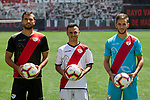 Alvaro Garcia (C), Alvaro Medran (L) and Jordi Amat (R) during their official presentation at Vallecas Stadium in Madrid, Spain. August 24, 2018. (ALTERPHOTOS/A. Perez Meca)