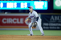 Winston-Salem Dash second baseman Nick Madrigal (3) on defense against the Myrtle Beach Pelicans at TicketReturn.com Field on May 16, 2019 in Myrtle Beach, South Carolina. The Dash defeated the Pelicans 6-0. (Brian Westerholt/Four Seam Images)