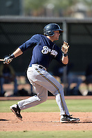 Milwaukee Brewers catcher Tanner Norton (13) during an Instructional League game against the Los Angeles Angels on October 11, 2013 at Tempe Diablo Stadium Complex in Tempe, Arizona.  (Mike Janes/Four Seam Images)