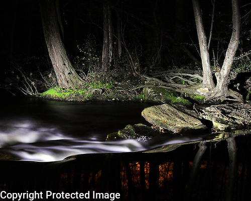 Fine art night photography.  Dreamy nocturnal photograph of an old dam on the Shelton section of the Far Mill River.  Available as a Limited edition Fine Art Print printed to conservation standards by a Master Printer specializing in gallery/museum archival prints.