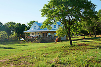 The exterior of a self-built country house with covered veranda. A boy plays on the tree swing.