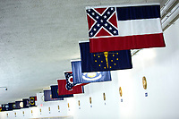 The Mississippi State Flag is displayed in the Senate Subway at the United States Capitol in Washington D.C., U.S., on Monday, June 29, 2020.  Mississippi state lawmakers voted over the weekend to remove the confederate symbol from the state flag. Photo Credit: Stefani Reynolds/CNP/AdMedia