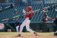 Jordan Lawlar (11) bats during the Baseball Factory All-Star Classic at Dr. Pepper Ballpark on October 4, 2020 in Frisco, Texas.  Jordan Lawlar (11), a resident of Irving, Texas, attends Jesuit College Preparatory School of Dallas.  (Mike Augustin/Four Seam Images)