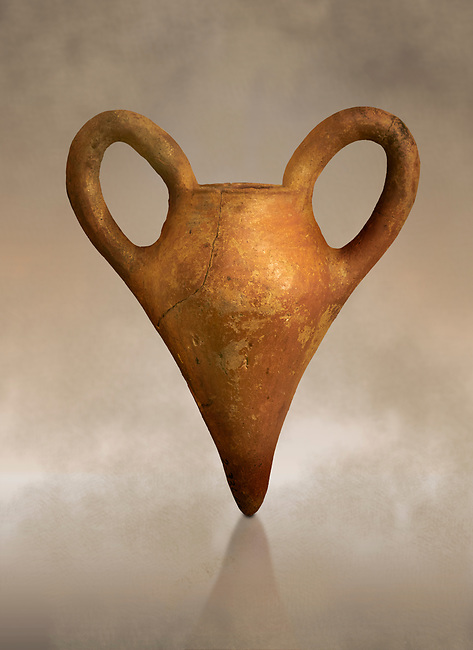 Assyrian Traders terra cotta imported two handled pointed base vase. 1900 - 1600 BC. Çorum Archaeological Museum, Corum, Turkey. Against a warm art bacground.